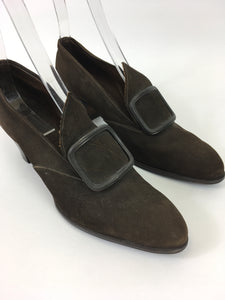 Original 1940's Brown Suede Shoes - Made By ' Lotus ' A UK 5 / 5 1/2