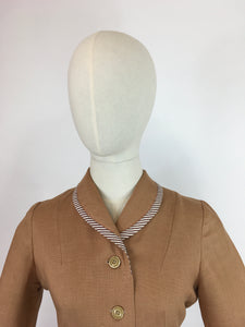 Original 1940's 2 Piece Suit - In a Beautiful Soft Caramel Linen Colour With Contrast Stripe Detailing