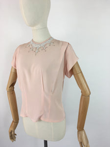 Original 1940s Soft Pink Blouse - With Beautiful Beaded Yoke Detailing