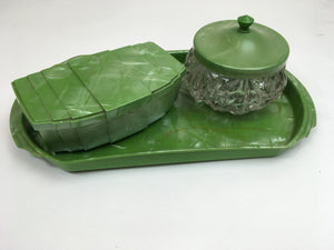 Original 1940's ' Hellex Made In England ' Vanity Set - In Art Deco Green