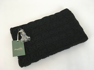 Original 1940s Stunning Black Crochet Clutch Bag - With Fabulous Lucite Pull