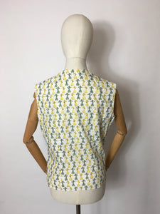 Original 1950s Cotton Day Blouse - In the Most Amazing Poodle Print and Yellow & Green Colour Combination