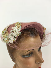 Load image into Gallery viewer, Original 1940's Darling Powdered Rose Pink Hat - With Veiling and Beautiful Millinery Flower Embellishments