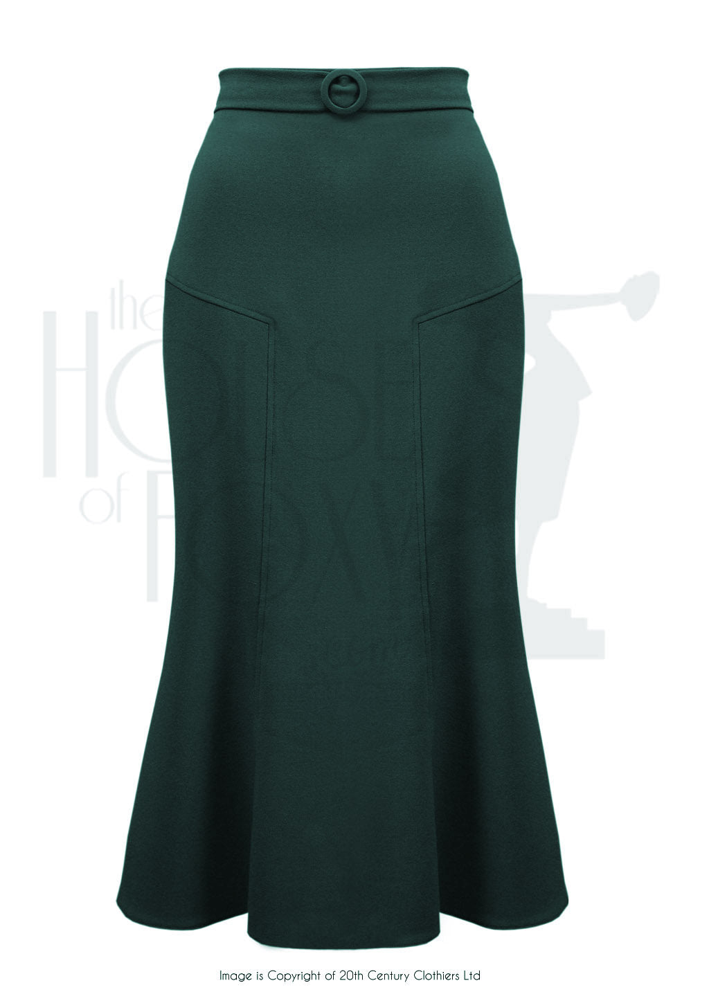 House Of Foxy 1930's Deco Panel Skirt in Bottle Green