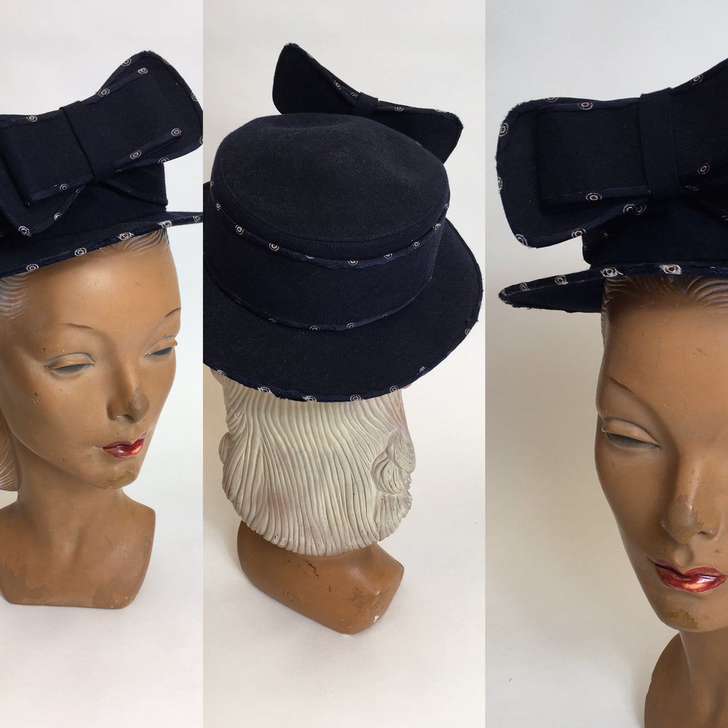 Original late 1930's Marshall & Snelgrove Hat - Huge Bow Adornment with Fabric Trim