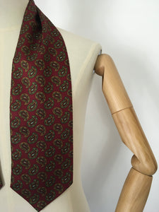 Original Men's Cravat - In a Lovely Burgundy, Orange and Green Paisley