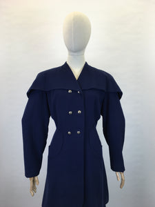 Original 1940s STUNNING Navy 2 pc Suit - With PHENOMENAL Long Line Silhouette and Cape Style Overlay