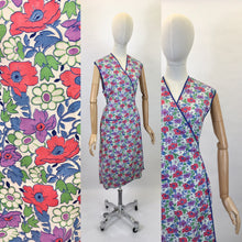 Load image into Gallery viewer, Original 1940's Utility CC41 Wraparound Pinny - In A Lovely Bright Floral in Reds, Purples, Greens & Blues