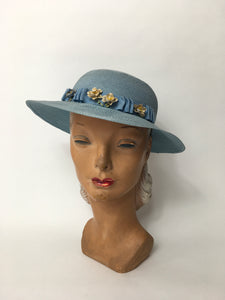 RESERVED FOR B - DO NOT BUY - Original Late 1930's Cornflower Blue Hat with Original Cream Flowers - Festival of Vintage Fashion Show Exclusive