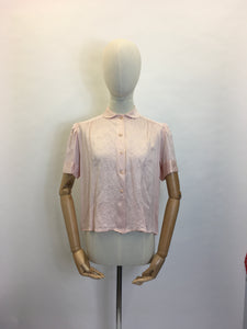 Original 1940's Cc41 Utility Blouse - Made From A Beautiful Powdery Pink Silk