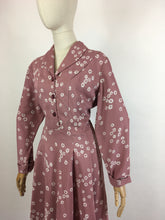 Load image into Gallery viewer, Original 1940s VOLUP Day Dress - In A Beautiful Dusky Rose Rayon with White Daisies