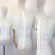 Load image into Gallery viewer, Original 1940's ' Judy Bond' White Blouse - With Stunning Floral Lace Detailing To The Bodice Panel
