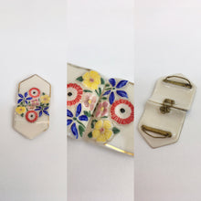 Load image into Gallery viewer, Original 1930's Beautiful Milk Glass Buckle - With Florals in Brights and Faded Gilding