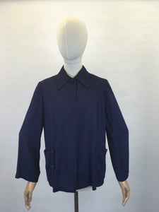 Original 1940s Stunning Navy Swagger Jacket - In a Lightweight Gab Fabric with lovely Button Detailing