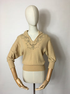 Original 1940's Knitted Jumper - Adorned with Beautiful Beadwork & Has Dolman Sleeves