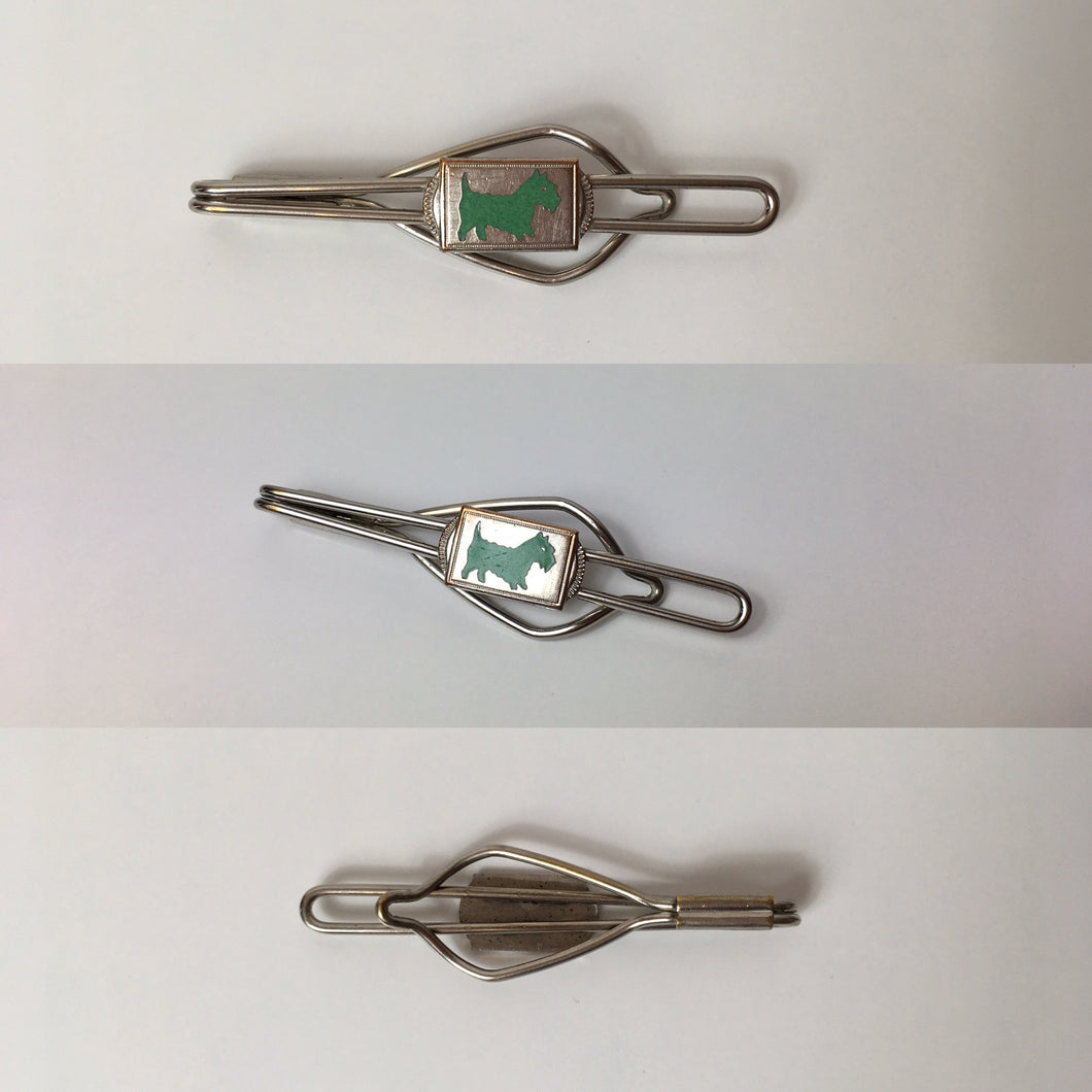 Original Gents Tie Pin - With a lovely Deco Green Scottie Dog Motif