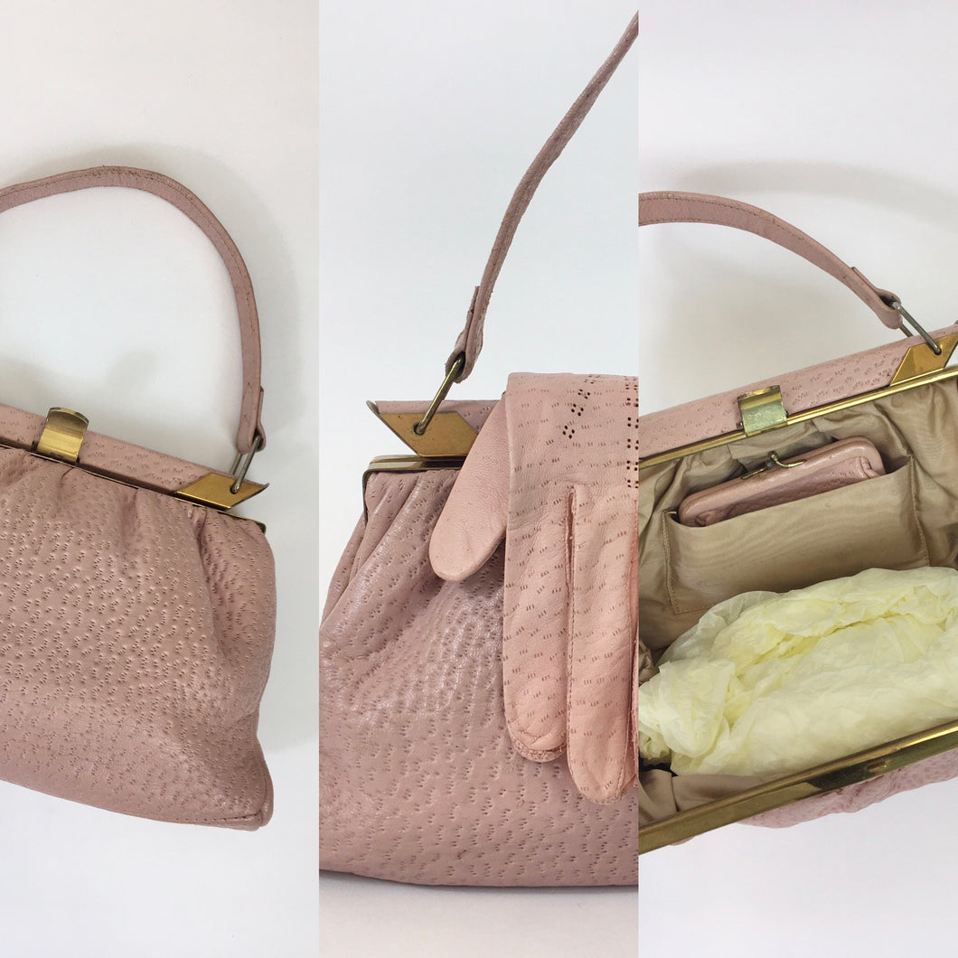 Original 1950's Ostrich Leather Handbag and Gloves - In a Beautiful Powder Pink