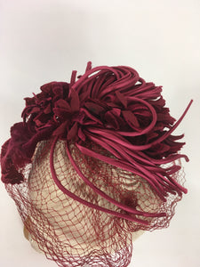 Original 1940s American Headpiece - In a Beautiful Deep Wine Colour