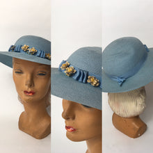 Load image into Gallery viewer, RESERVED FOR B - DO NOT BUY - Original Late 1930's Cornflower Blue Hat with Original Cream Flowers - Festival of Vintage Fashion Show Exclusive