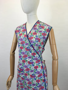 Original 1940's Utility CC41 Wraparound Pinny - In A Lovely Bright Floral in Reds, Purples, Greens & Blues