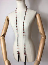 Load image into Gallery viewer, Original 1920s Flapper Glass Beaded Necklace - Fabulous Red & Black Colours