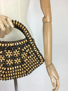 Original 1940's Wooden Beaded Bag - In A Fabulous Shape with 2 tone beadwork
