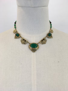 Original 1930s STUNNING Deco Necklace - Brass and Classic Deco Green Glass Beads