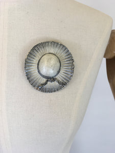 Original 1940's Large Grey Hat Brooch - With Beautiful Detailing