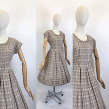 Load image into Gallery viewer, Original 1950's Darling Broderie Anglaise Cotton Day Dress - In a Soft Fawn with White Accents