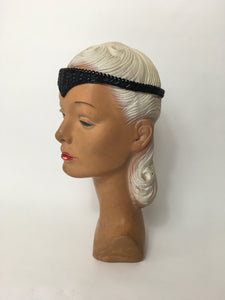 An Original late 1920s Black Beaded Flapper Headband - A Festival of Vintage Fashion Show Exclusive