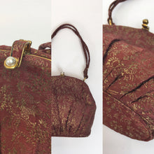 Load image into Gallery viewer, Original 1930's Lame Evening Bag - In A Beautiful Burgundy with Gold Lame Floral Brocade