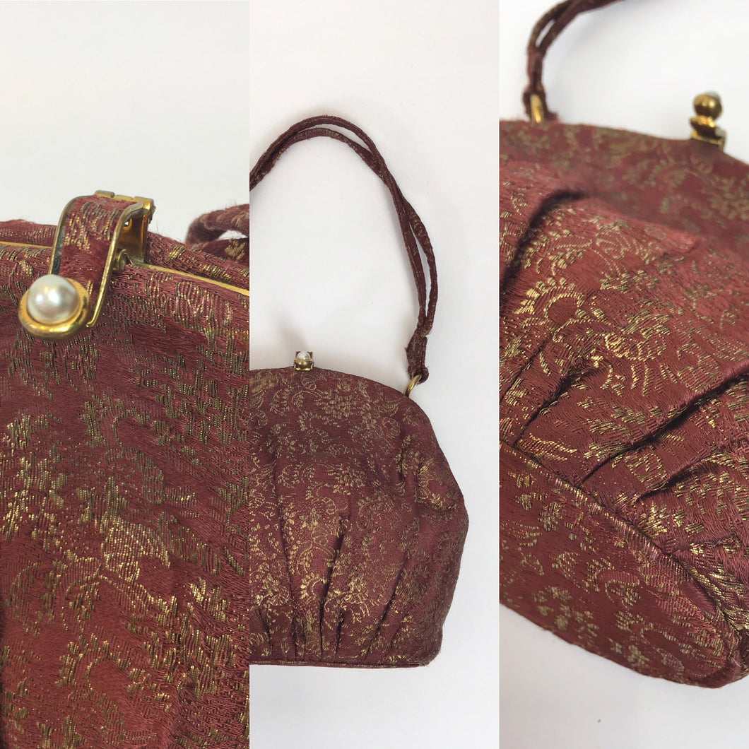 Original 1930's Lame Evening Bag - In A Beautiful Burgundy with Gold Lame Floral Brocade