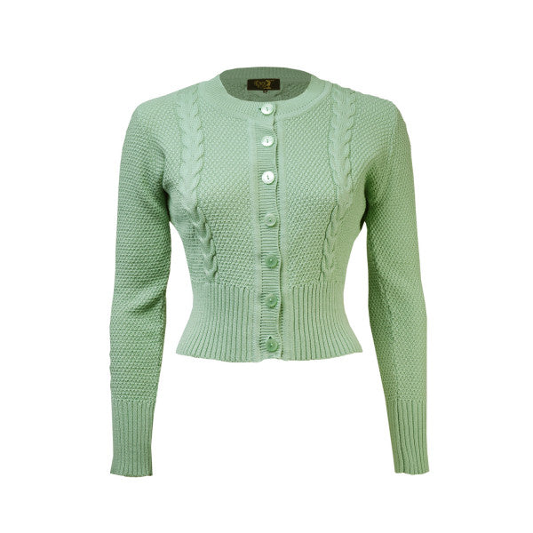 House Of Foxy Vintage Style Cardigan in Celadon Green
