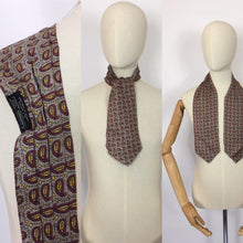 Load image into Gallery viewer, Original 1940's Mens ' Sammy ' Silk Cravat - In a Lovely Bright Yellow and Burgundy Paisley