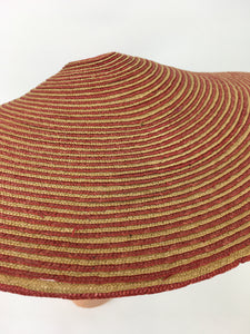 Original 1940's Wide Straw Sun Hat - In A Beautiful Red & Natural Straw