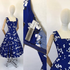 Original 1950's STUNNING ' Horrockses Fashions ' Cotton Dress - In Rich Navy, Deep Charcoals and Soft Grey