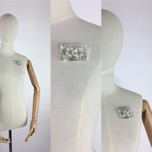 Load image into Gallery viewer, Original 1940's Rectangle Lucite Brooch - Bevelled Edge with White And Green Floral Design