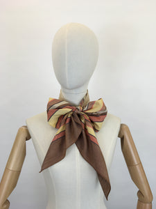 Original 1930's Deco Pointed Scarf - In Beautiful Warm Browns, Yellows, Burnt Orange and Stencilled Black