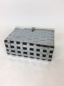 Original 1950's Metal Lattice Work Box Bag - With Lucite Lid and Handle