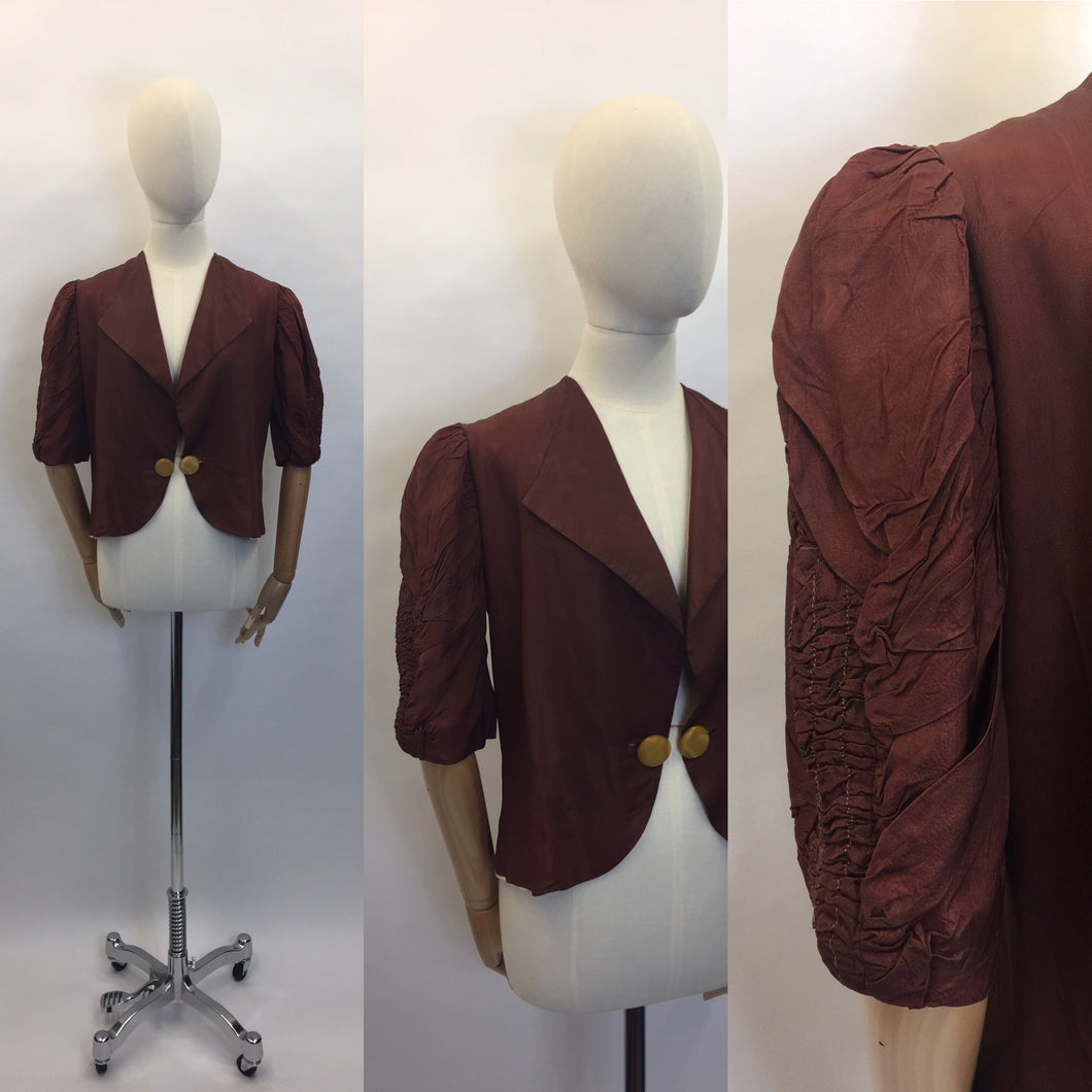 Original 1930's Exquisite Brown Silk Jacket - Amazing Ruched sleeve detailing