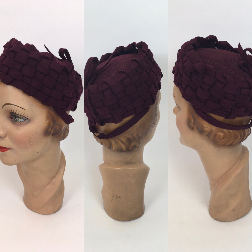 Original 1940s Deep Burgundy Felt Topper Hat - With Stunning Lattice Work Detailing