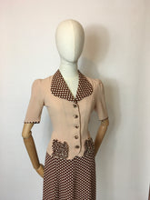 Load image into Gallery viewer, Original 1940's Darling 2 pc Crepe Suit - In the Most Beautiful Contrast Blush Pink & Brown Polka Dot Crepe