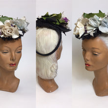 Load image into Gallery viewer, Original 1940's Floral Tilt Hat - Beautiful Floral Adornments in Powder Blues , Purples & Ivory