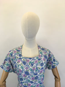 Original 1940's Gorgeous Floral Cotton Day Dress - In Summertime Blues, Pinks, Purples & Greens