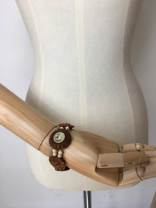 Original 1940's Celluloid Elastic Bracelet - Simple Cream And Brown