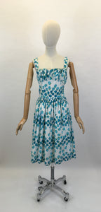 Original 1950's Gorgeous Sun Dress - In A Beautiful Blue Rose Print Cotton
