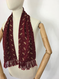Original 1940's Mens Scarf - In a Lovely Burgundy, Yellow & Black Paisley Print