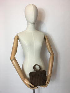 Original 1930's Brown Popcorn Crochet Handbag - Festival of Vintage Fashion Show Exclusive