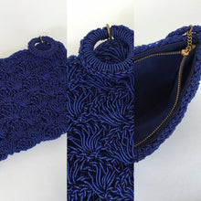 Load image into Gallery viewer, Original 1950's Royal Blue Beaded Plastic Clutch - With Matching Circular Pull