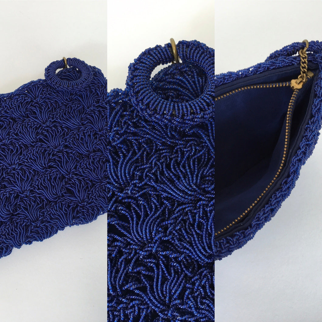 Original 1950's Royal Blue Beaded Plastic Clutch - With Matching Circular Pull